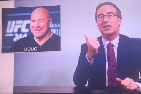 "A screen shot of John Oliver promoting ""Doug"" as UFC President Dana White's new name on the May ..."