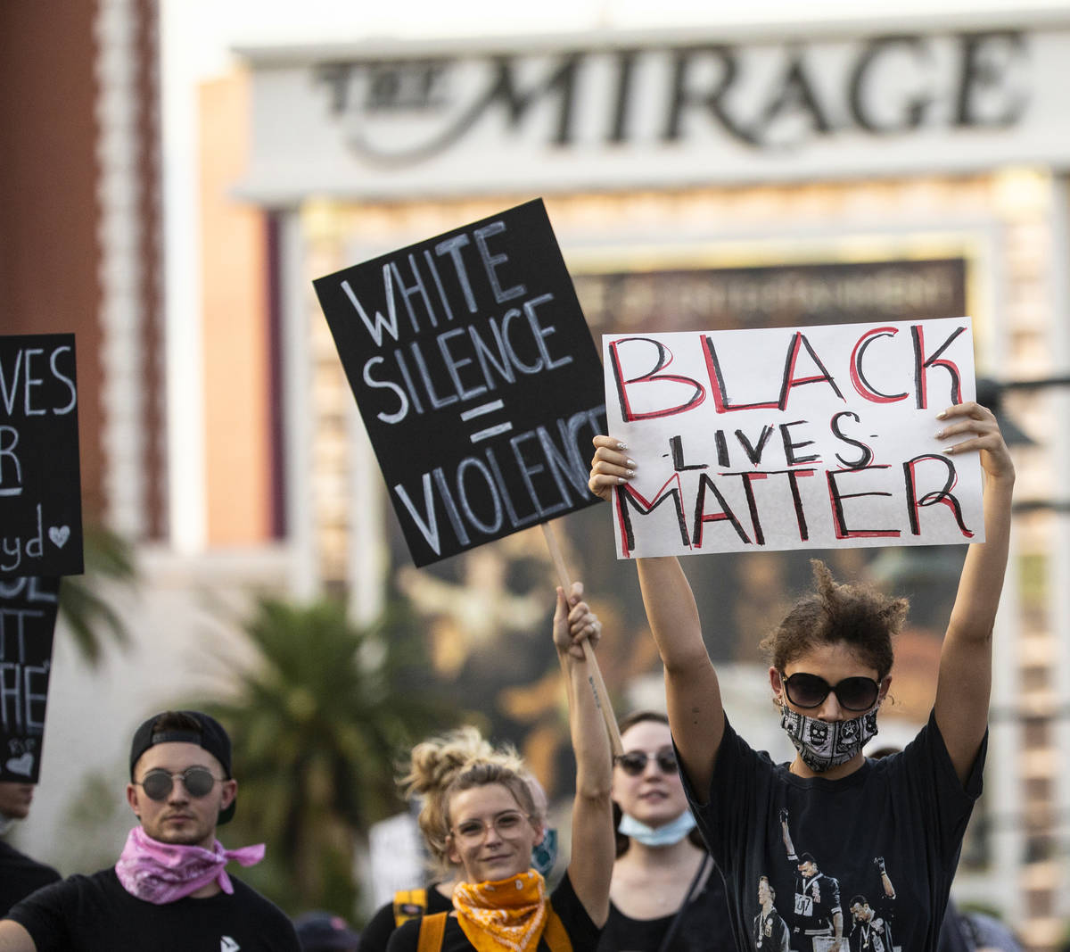 A large crowd protests on the Strip on Monday, June 1, 2020, in Las Vegas as riots continue thr ...