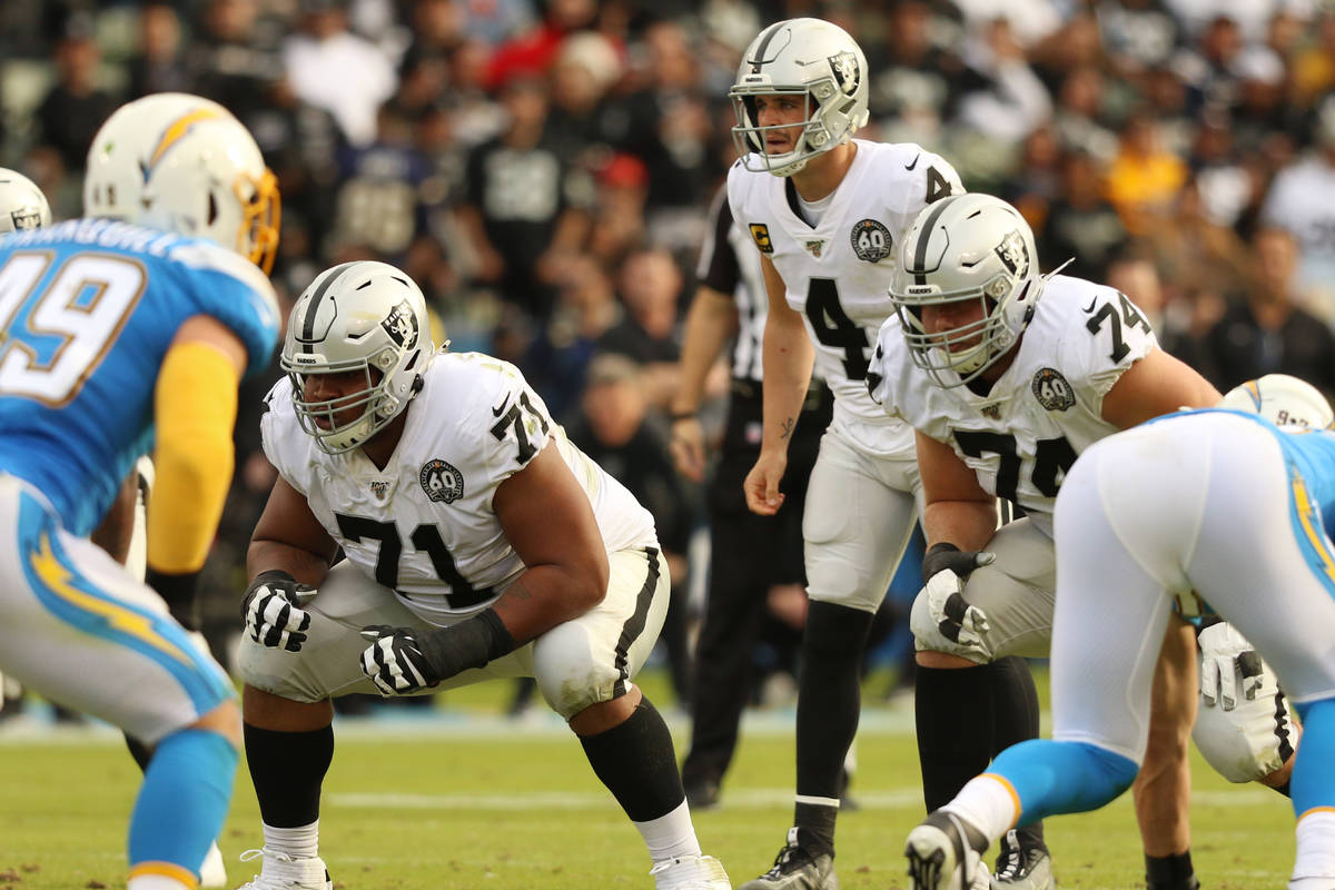 Oakland Raiders quarterback Derek Carr (4) readies himself on the line of scrimmage as offensiv ...