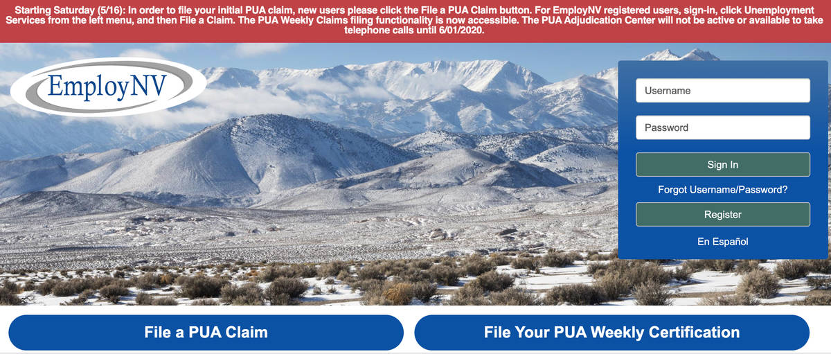 The website for Nevada PUA filers, employnv.gov, shows outdated information on Monday, June 1 2 ...