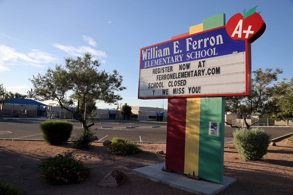 Ferron Elementary School in Las Vegas Wednesday, May 27, 2020. Clark County School District pla ...