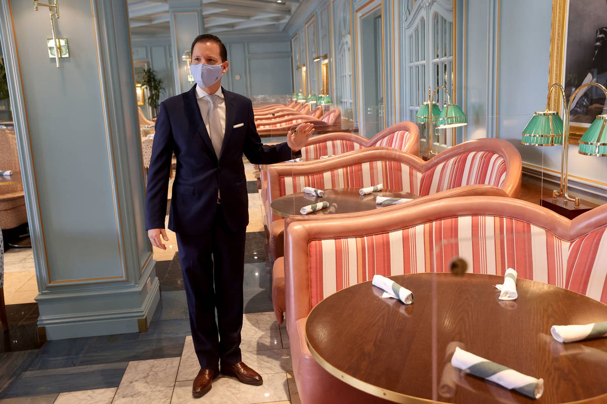 Dominique Bertolone, MGM Resorts senior vice president of food and beverage strategy, shows ple ...