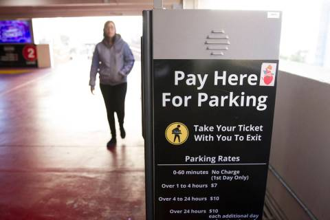A parking payment machine at the New York-New York hotel-casino on Wednesday, Dec. 28, 2016, in ...
