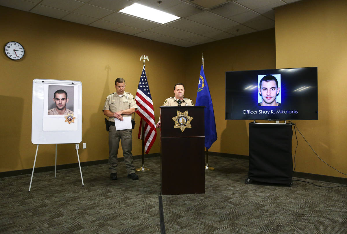Assistant Sheriff Chris Jones talks about police officer Shay Mikalonis, who was shot the night ...
