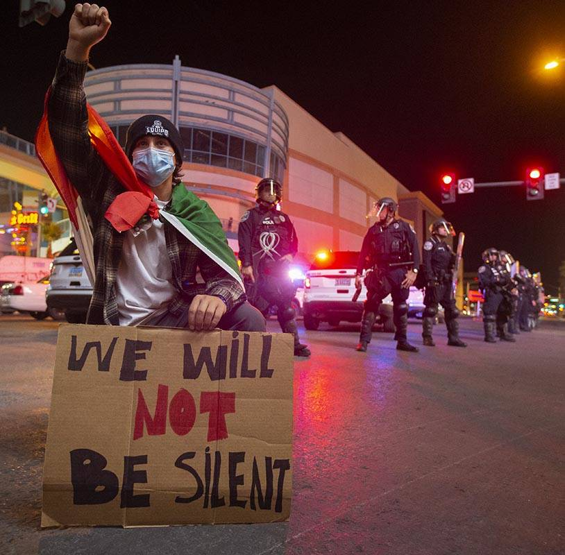A large crowd organized by Black Lives Matter protests in downtown Las Vegas on Monday, June 1, ...