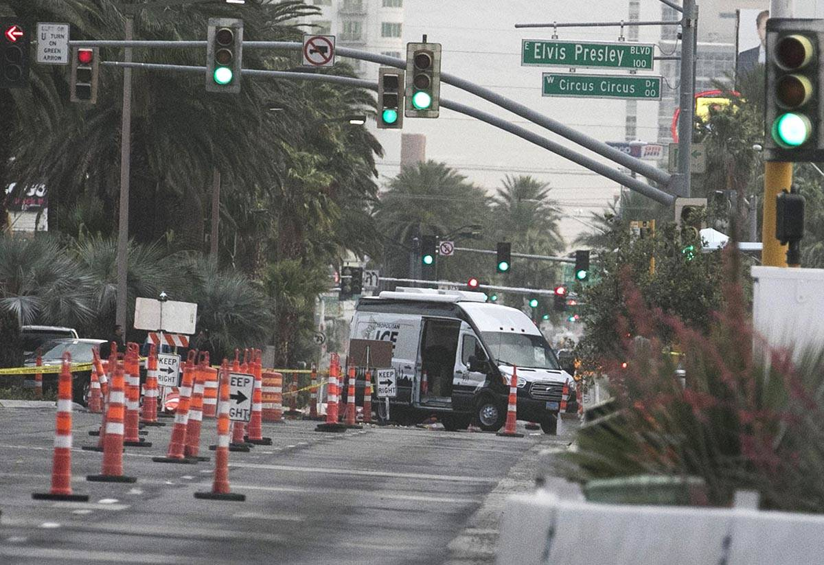 Las Vegas police investigate on Tuesday, June 2, 2020, after a Las Vegas police officer was sho ...