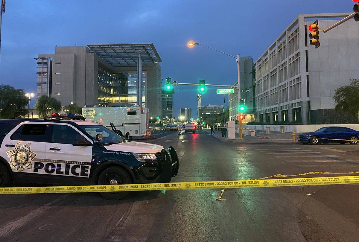 Police have Las Vegas Boulevard closed near the Foley federal building about 5:30 a.m. Tuesday, ...