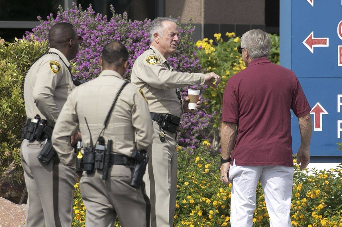 Clark County Sheriff Joe Lombardo leaves University Medical Center on Tuesday, June 2, 2020, af ...