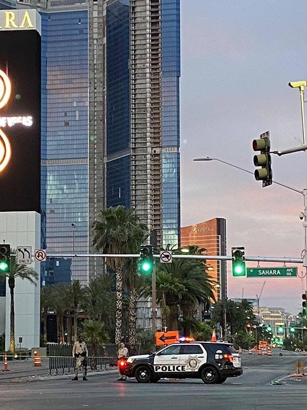 Las Vegas Boulevard is closed at Sahara Avenue about 5 a.m. Tuesday, June 2, 2020. (Glenn Puit/ ...