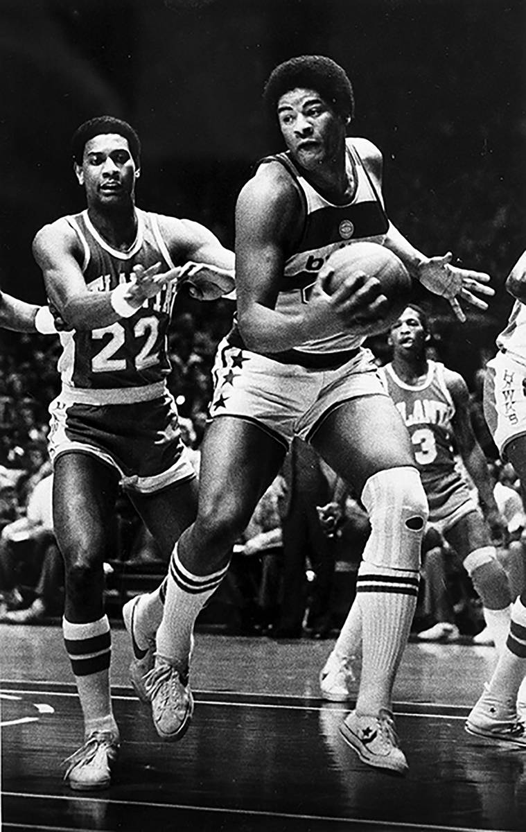 In this Jan . 30, 1979, file photo, Wes Unseld of the Washington Bullets takes in an offensive ...