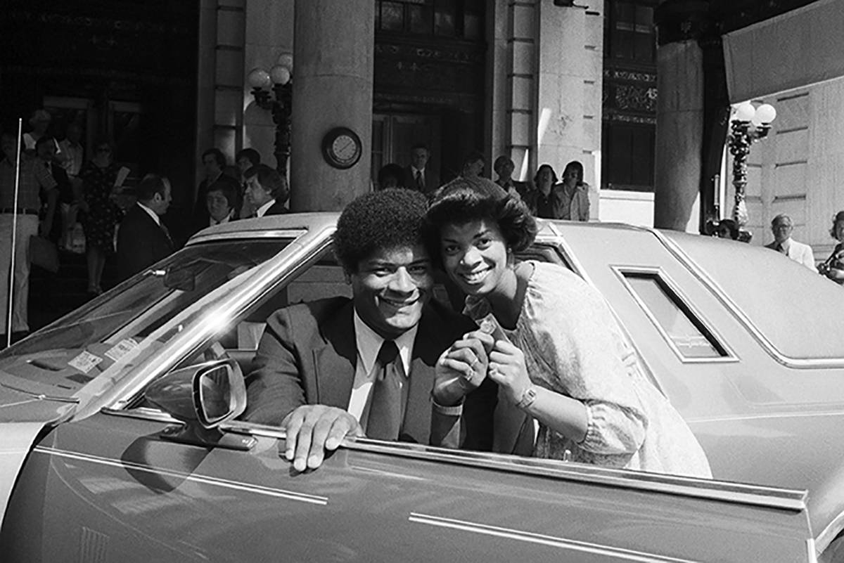 In this June 12, 1978, file photo, Wes Unseld and his wife Connie hold the keys to their new Th ...