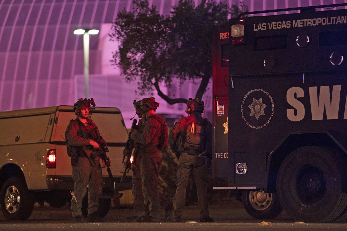 A SWAT unit behind Circus Circus on Tuesday, June 2, 2020, in Las Vegas. (Ellen Schmidt/Las Veg ...