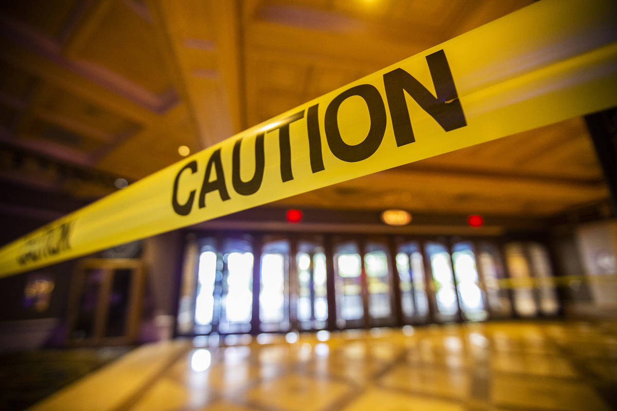 Caution tape closes off the gaming floor from a main entrance during the closure of TI due to t ...