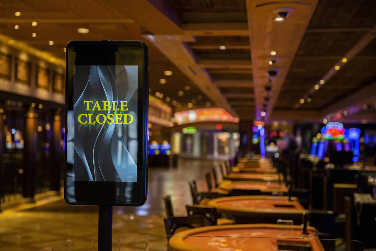 The closed gaming floor at TI due to the coronavirus pandemic on Friday, April 10, 2020, in Las ...