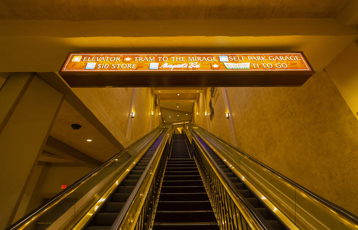 Empty escalators during the closure of TI due to the coronavirus pandemic on Friday, April 10, ...