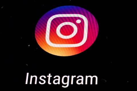 FILE - In this Nov. 29, 2018 file photo, the Instagram app logo is displayed on a mobile screen ...