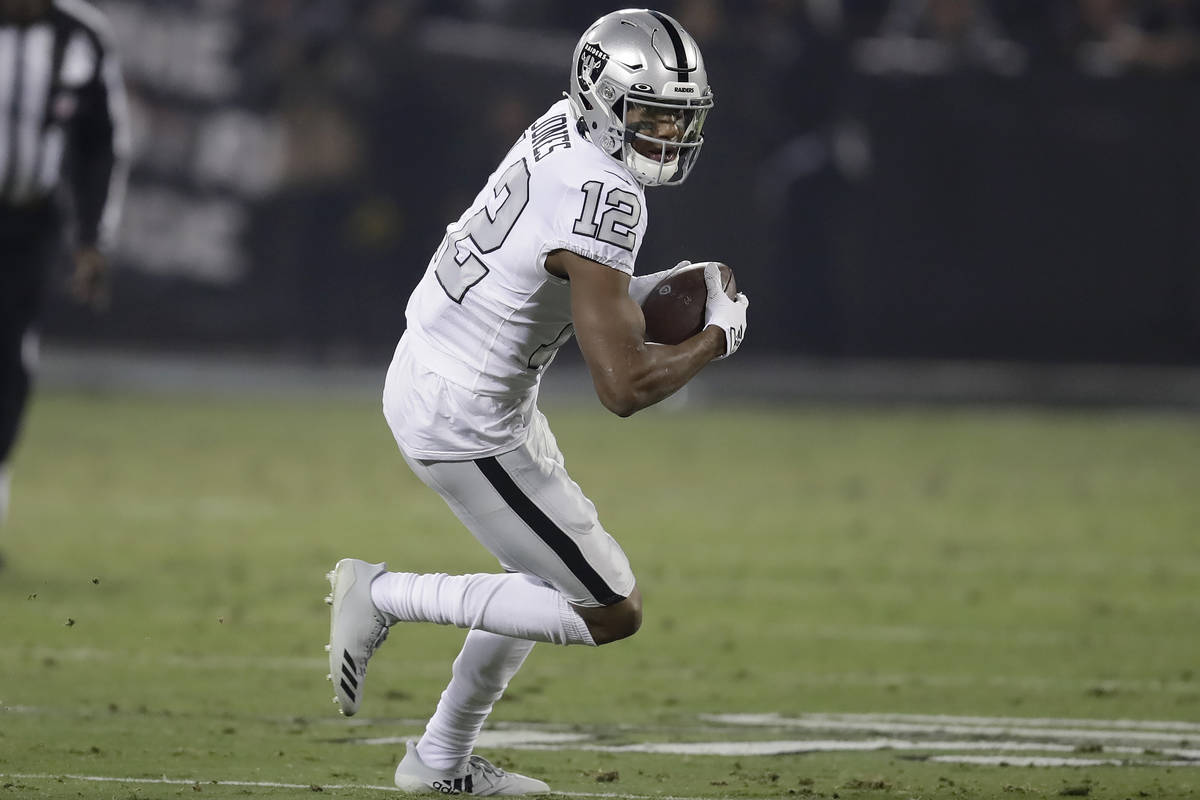 Oakland Raiders wide receiver Zay Jones (12) runs against the Los Angeles Chargers during the f ...