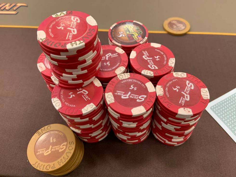 Review-Journal reporter Jim Barnes was up more than $400 in a poker game after winning a big ha ...