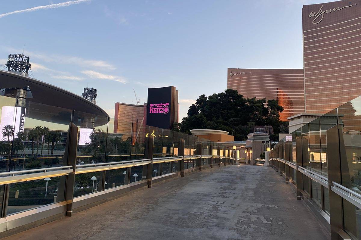 Traffic is minimal near the Encore and Wynn Las Vegas on Monday, March 16, 2020, because of the ...