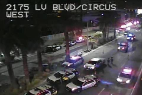 Heavy Las Vegas police presence can be seen outside Circus Circus on Tuesday, June 2, 2020, in ...