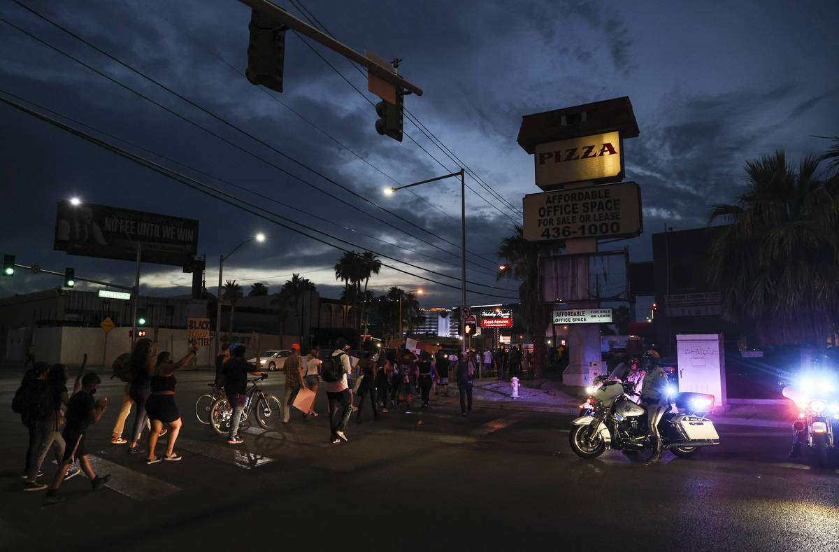 People march during a Black Lives Matter protest near UNLV in Las Vegas on Tuesday, June 2, 202 ...