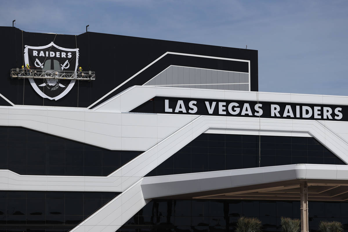The shield logo is installed at the Las Vegas Raiders headquarters and practice facility in Hen ...