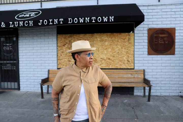 Natalie Young, owner of EAT, at her boarded up restaurant in downtown Las Vegas Tuesday, June 2 ...