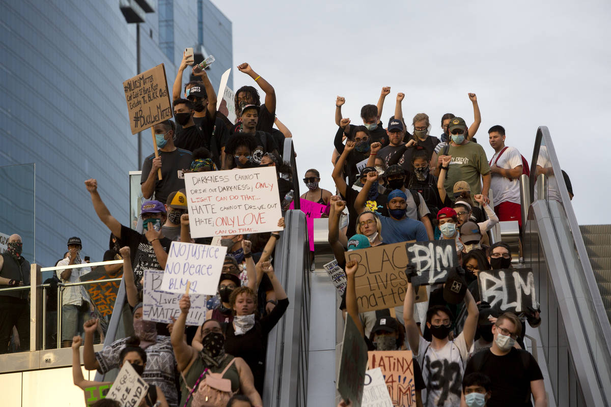 during a Black Lives Matter protest at UNLV in Las Vegas on Tuesday, June 2, 2020. (Chris Day/L ...