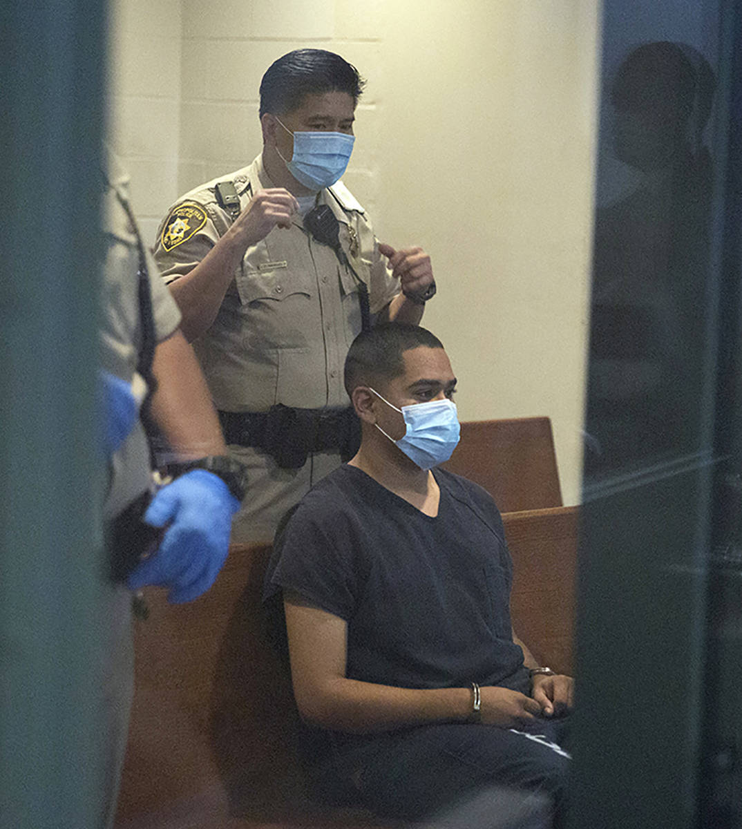 Edgar Samaniego, charged in shooting of Las Vegas police officer, appears in court at the Regio ...