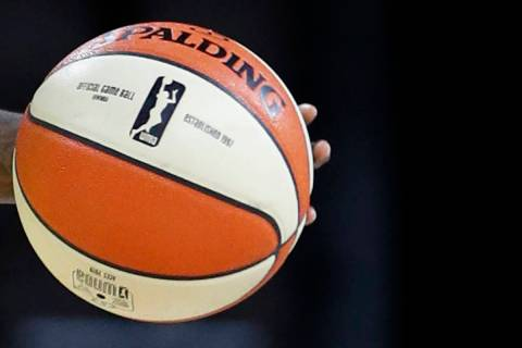 Seattle Storm's Natasha Howard brings the ball up the court against the Las Vegas Aces during t ...