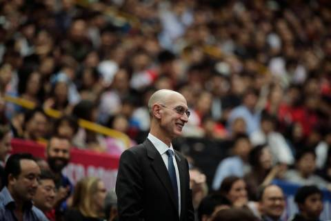 In this Oct. 8, 2019 file photo, NBA Commissioner Adam Silver is introduced during an NBA prese ...