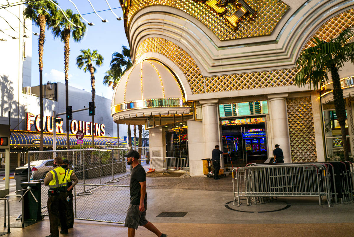 A man walks past an entrance to the Golden Nugget in downtown Las Vegas on Wednesday, June 3, 2 ...