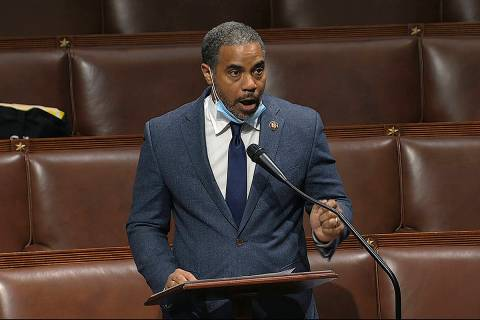 FILE - In this Thursday, April 23, 2020, file image taken from video, Rep. Steven Horsford, D-N ...