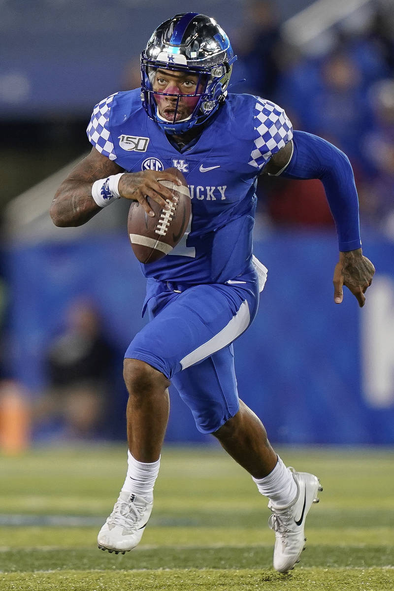 FLE - In this Oct. 12, 2019, file photo, Kentucky quarterback Lynn Bowden Jr. (1) is shown duri ...