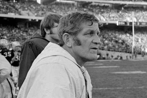 George Blanda watches the progress of the first half against Kansas City Saturday Dec. 12, 1970 ...