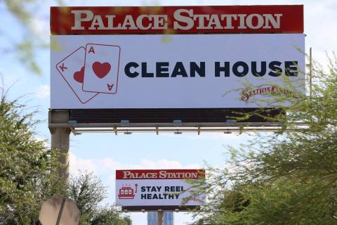 A Station Casinos billboard near Palace Station hotel-casino in Las Vegas, Wednesday, June 3, 2 ...