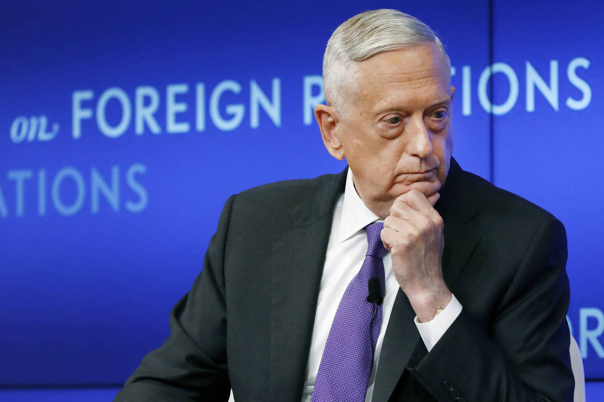 FILE - In this Sept. 3, 2019, file photo former U.S. Secretary of Defense Jim Mattis listens to ...