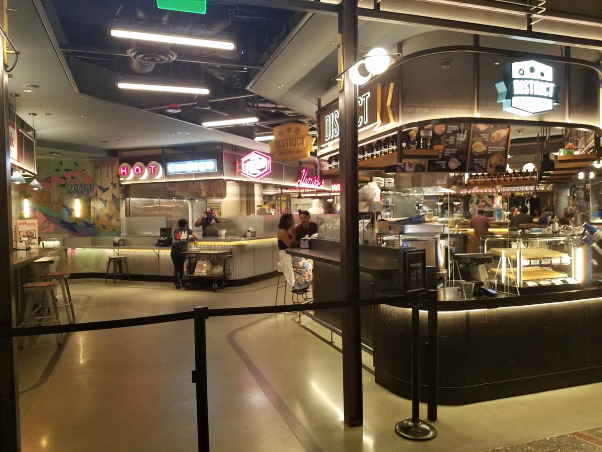A few customers dined at Block Sixteen Urban Food Hall Thursday afternoon at The Cosmopolitan o ...
