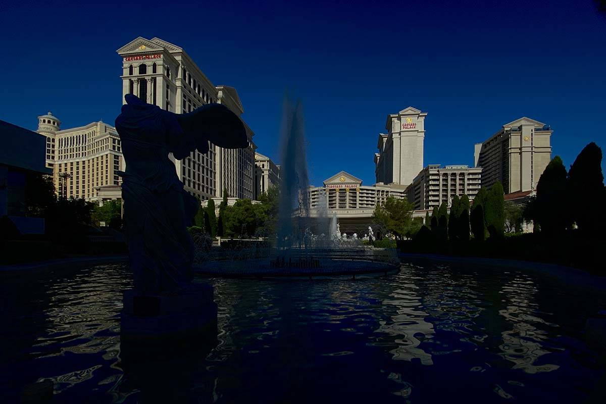 Shortly before the opening ceremonies the fountains welcome visitors to Caesars Palace on Thurs ...
