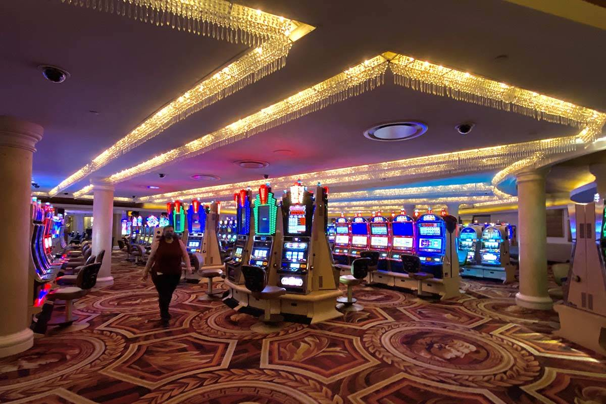 Socially distanced slot machine area at Caesars awaiting first customers. (L.E. Baskow/Las Vega ...