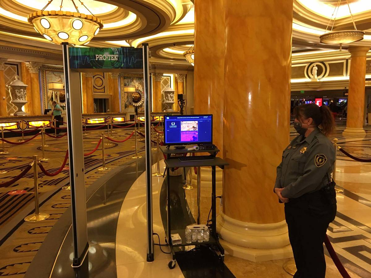A temperature scanner set to greet guests at Caesars on Thursday, June 4, 2020. (Michael Quine/ ...
