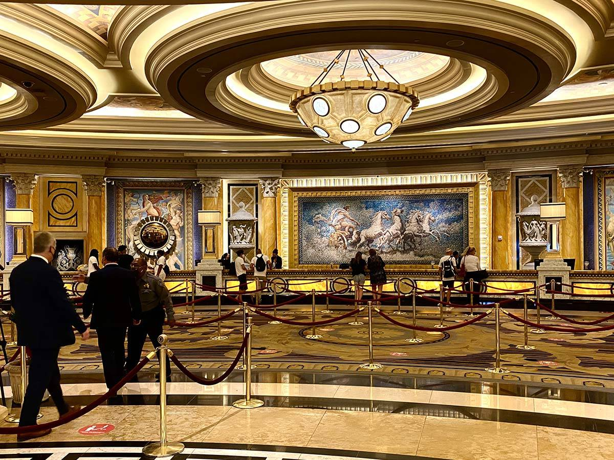 The front desk at Caesars is open and ready for business on Thursday, June 4, 2020. (L.E. Basko ...