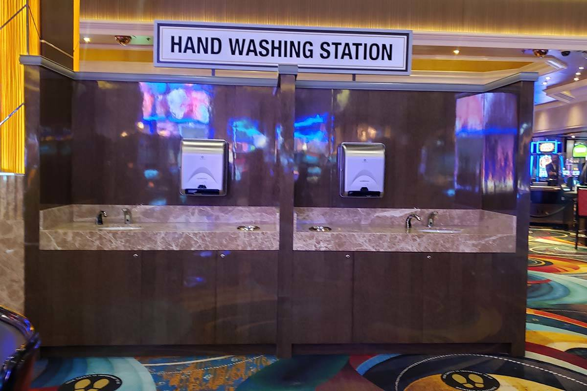 A hand washing station at the MGM Grand on Thursday, June 4, 2020. (Aleksandra Appleton/Las Veg ...