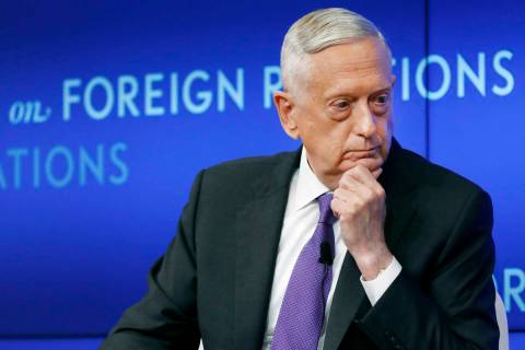 In this Sept. 3, 2019, file photo, former U.S. Secretary of Defense Jim Mattis listens to a que ...