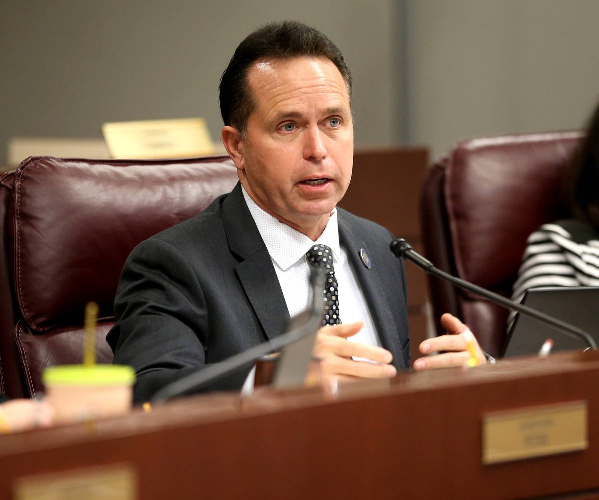 Assemblyman Tom Roberts, R-Las Vegas, asks a question during an Assembly Judiciary Committee me ...