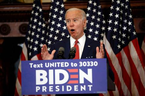 Democratic presidential candidate, former Vice President Joe Biden speaks in Philadelphia, Tues ...