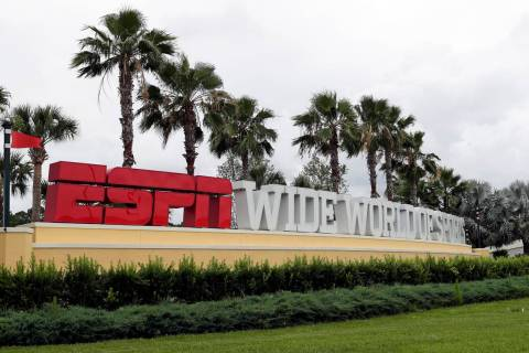 A sign marking the entrance to ESPN's Wide World of Sports at Walt Disney World is seen Wednesd ...