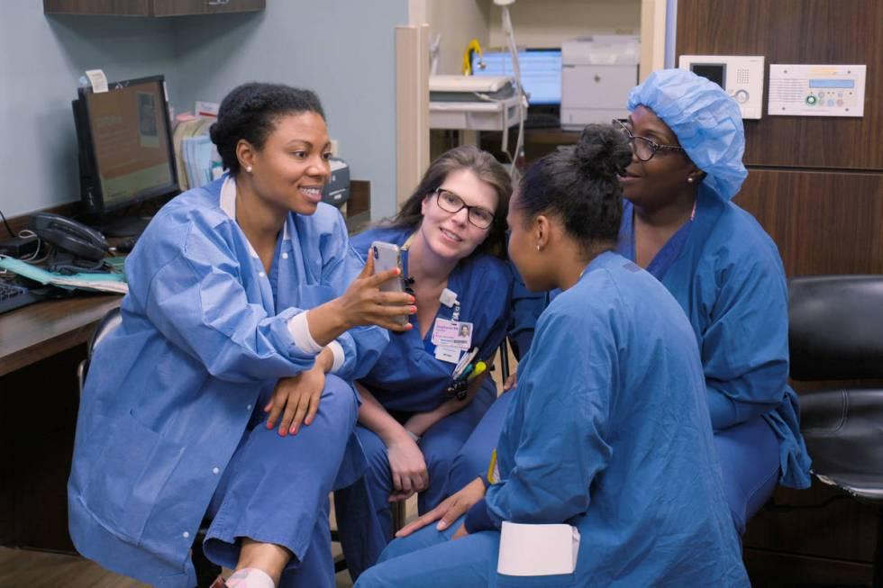 "Dr. Amanda Little-Richardson, left, in an episode of the docuseries ""Lenox Hill."" (Netflix)"