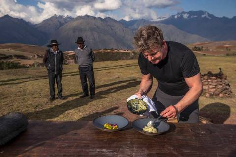 Peru - Gordon Ramsay (R) prepares a feast for locals in Peru's Sacred Valley. (National Geograp ...