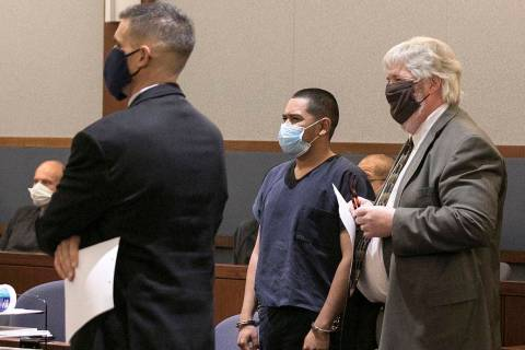 Edgar Samaniego, charged in shooting of Las Vegas police officer, appears in court with his def ...